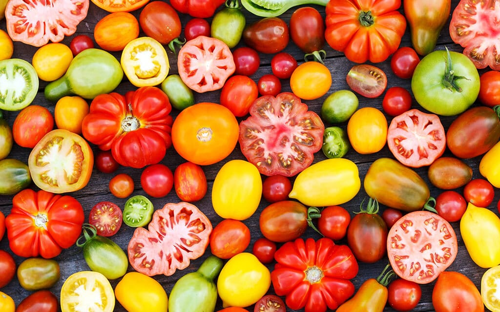 overhead image of various colored tomatoes